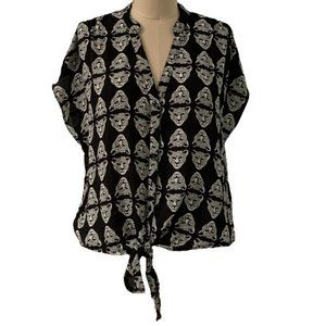 Forever 21 Cheetah Button Down Front Tie Blouse